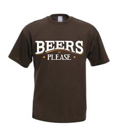 Beers Please printed T Shirt (Brown) from beersplease.co.uk