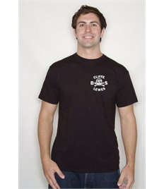 Black T Shirt with Cliffe Bonfire Society logo printed on left chest