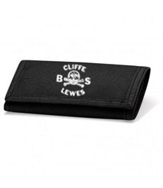 Black Velcro Wallet with Cliffe Bonfire Society logo printed on front