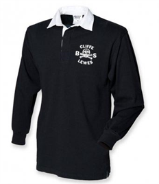 Black Rugby Shirt with Cliffe Bonfire Society logo printed on left chest
