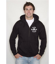 Black Zip Up Hoody with Cliffe Bonfire Society logo printed on left chest