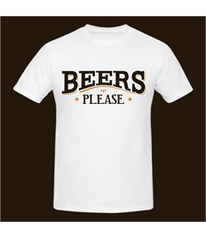 Beers Please printed T Shirt (White) from beersplease.co.uk